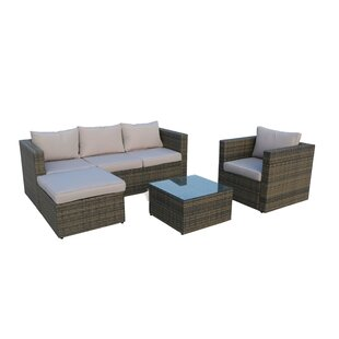 Danville 4 Piece Rattan Sofa Seating Group with Cushions