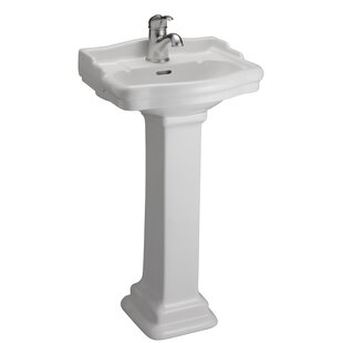 Stanford 460 Vitreous China Rectangular Pedestal Bathroom Sink with Overflow Barclay