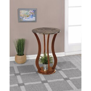 Red Barrel Studio Kranzo Wooden Plant Stand with Marble Top