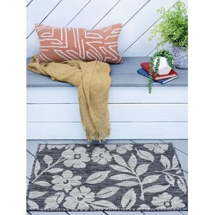 Kadin Contemporary Floral Charcoal Indoor/Outdoor Area Rug