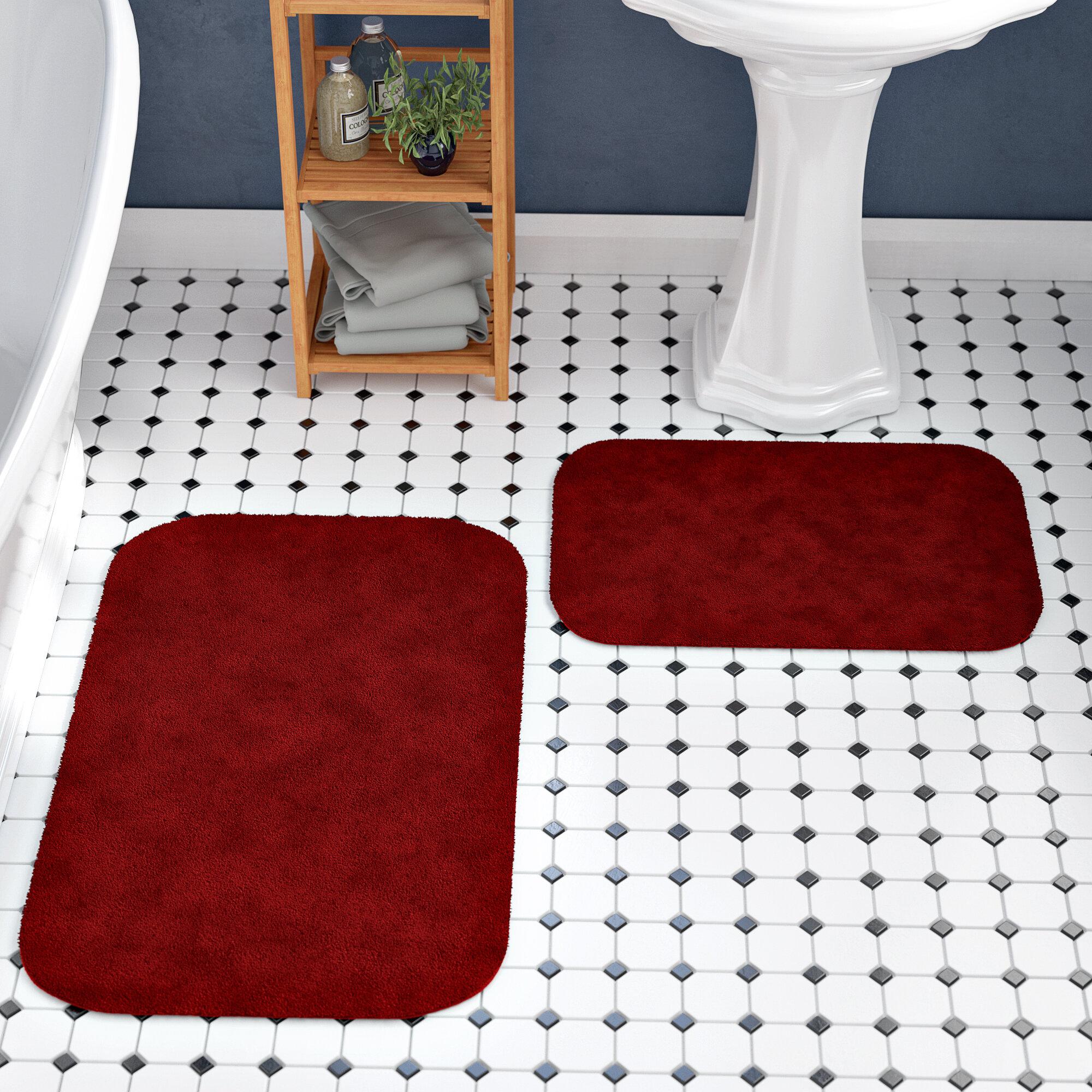 Andover Mills Woodacre Red Rectangle Nylon Non Slip 2 Piece Bath Rug Set Reviews Wayfair Ca