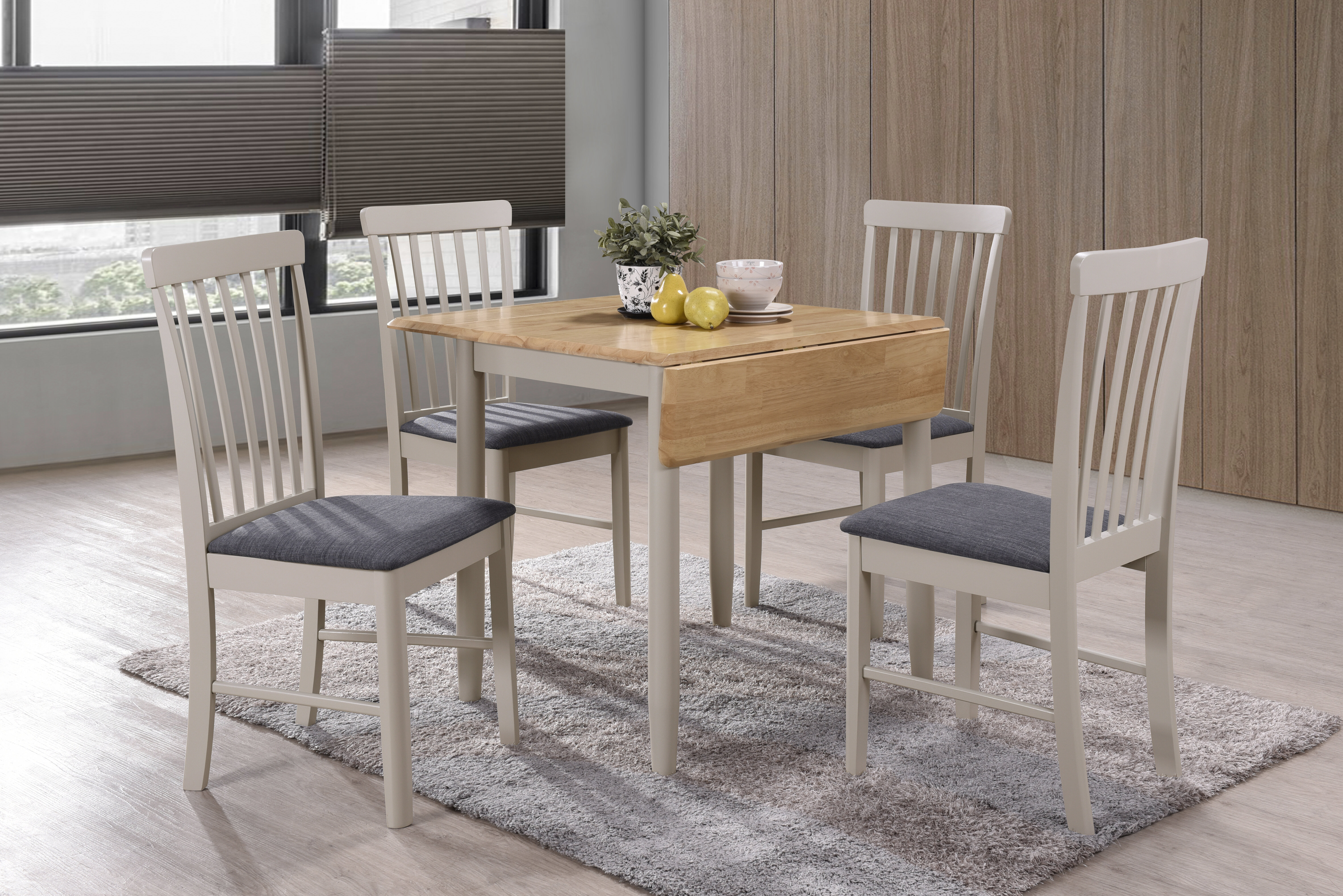 - Hazelwood Home Folding Extendable Dining Set With 4 Chairs