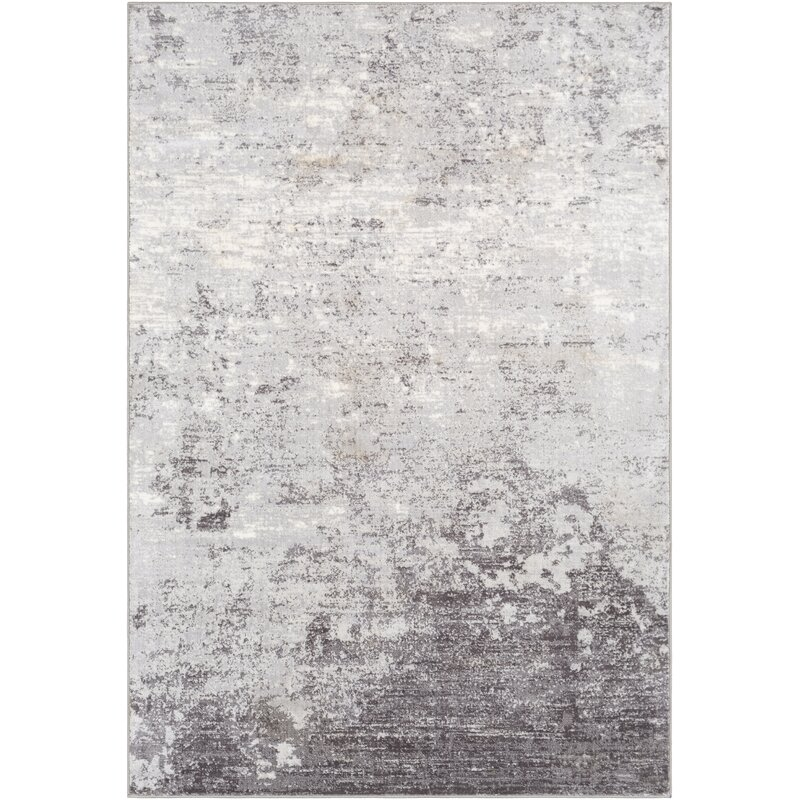 Silver Gray White Charcoal Area Rug