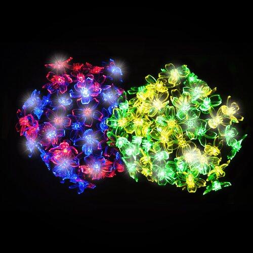 100 Multicolour LED Blossom Solar Fairy Lights OE Lights