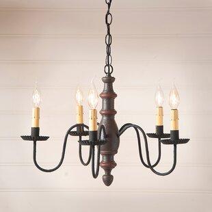 Gracie Oaks Vincent Wood 5-Light Chandelier