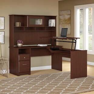 Compare prices Hillsdale L-Shaped Height Adjustable Computer Desk with Hutch By Red Barrel Studio