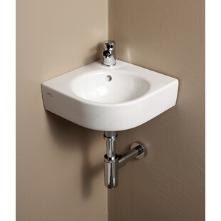 Buy clear Comprimo Ceramic Specialty Wall-Mount Bathroom Sink with Overflow By Bissonnet