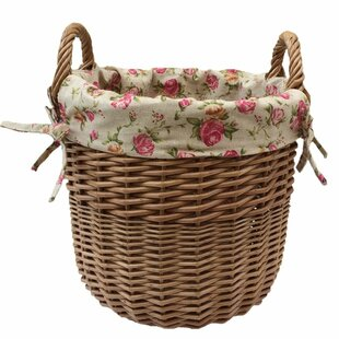 Wicker Laundry Basket With Garden Rose Lining By Lily Manor