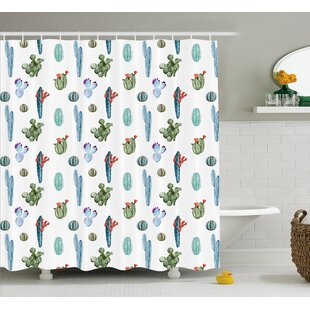 Zendaya Watercolor Cactus Plant Image Desert Hot Mexican Souh Nature Floral Print Single Shower Curtain by Ebern Designs 2019 Sale