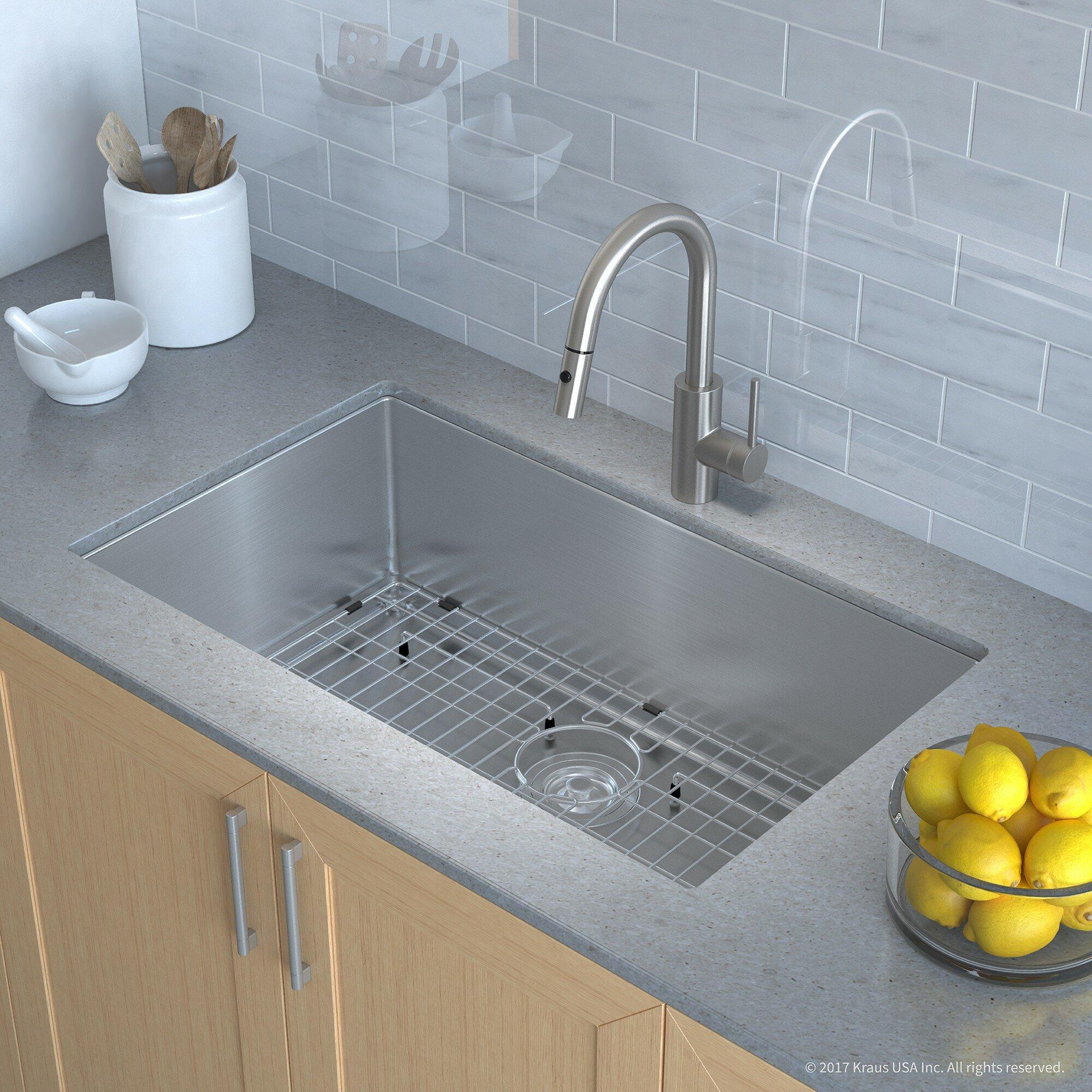 """Kraus Handmade Series 32""""L x 19""""W Undermount Kitchen Sink with ..."""