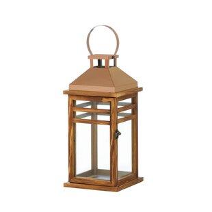 Alcott Hill Glass/Wood/Stainless Steel Lantern