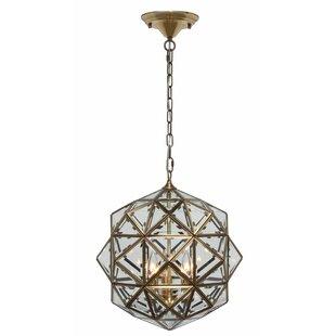 Alica Glass 3-Light Geometric Chandelier by Wrought Studio