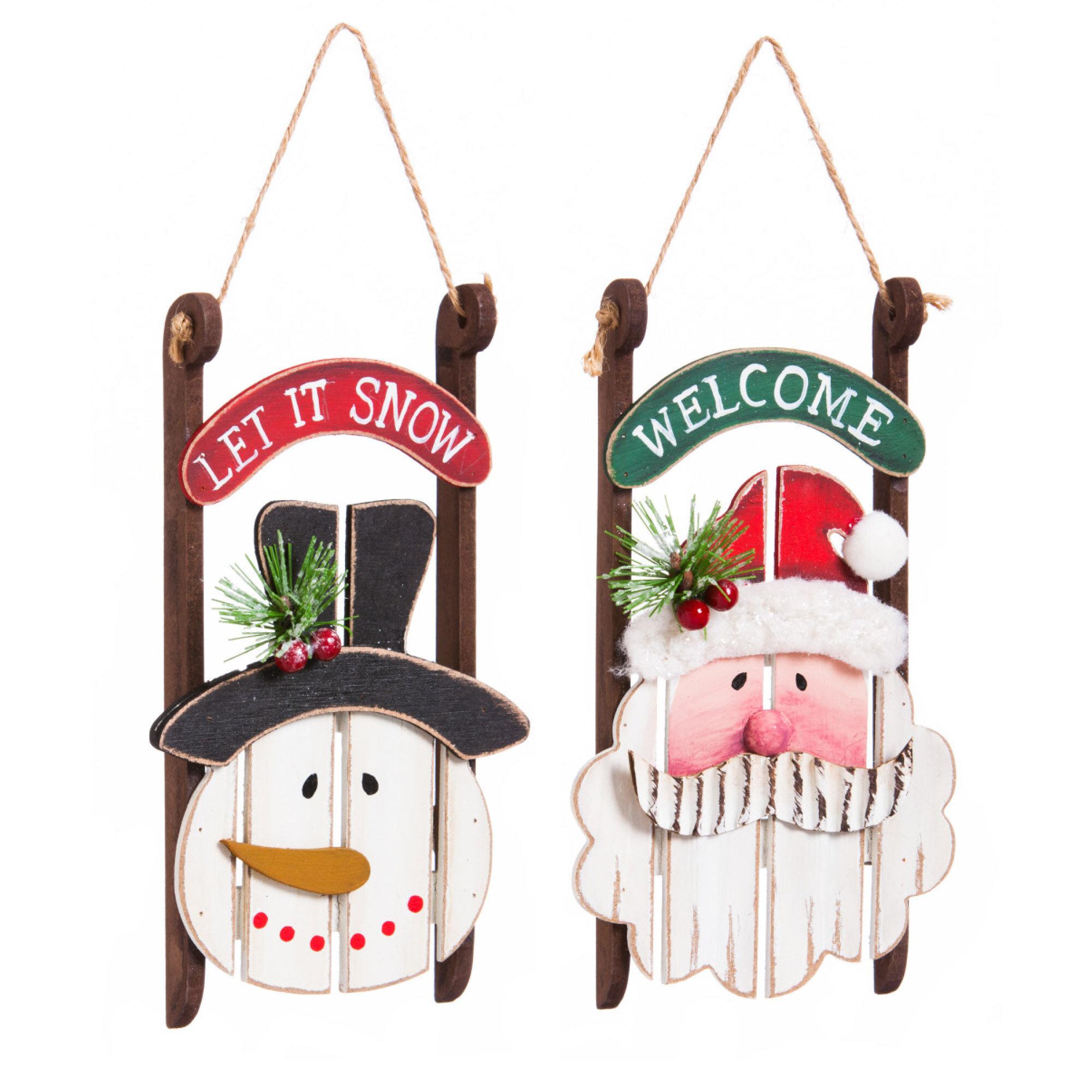 the holiday aisle 2 piece wooden santasnowman sled hanging figurine set reviews wayfair - Santa Snowman 2