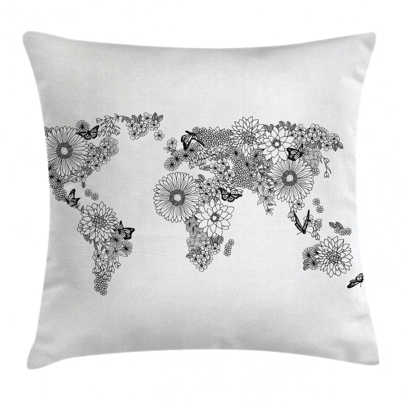 East Urban Home Petals With Butterflies Flying On Continents Indoor Outdoor40 Throw Pillow Cover Wayfair