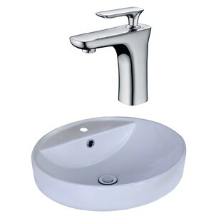 Top Reviews Ceramic Circular Vessel Bathroom Sink with Faucet and Overflow ByAmerican Imaginations