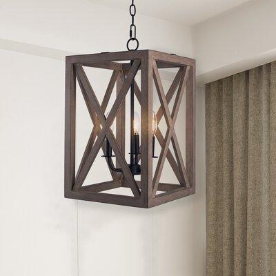 Charlo 3 - Light Lantern Square / Rectangle LED Chandelier with Rope Accents Gracie Oaks Finish: Matte Black/Anchor Gray Oak -  DA52D52B62EC4304BF98276043765D57