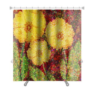 Flowers Acrylic Hand Drawn with 3 Big Flowers Premium Single Shower Curtain