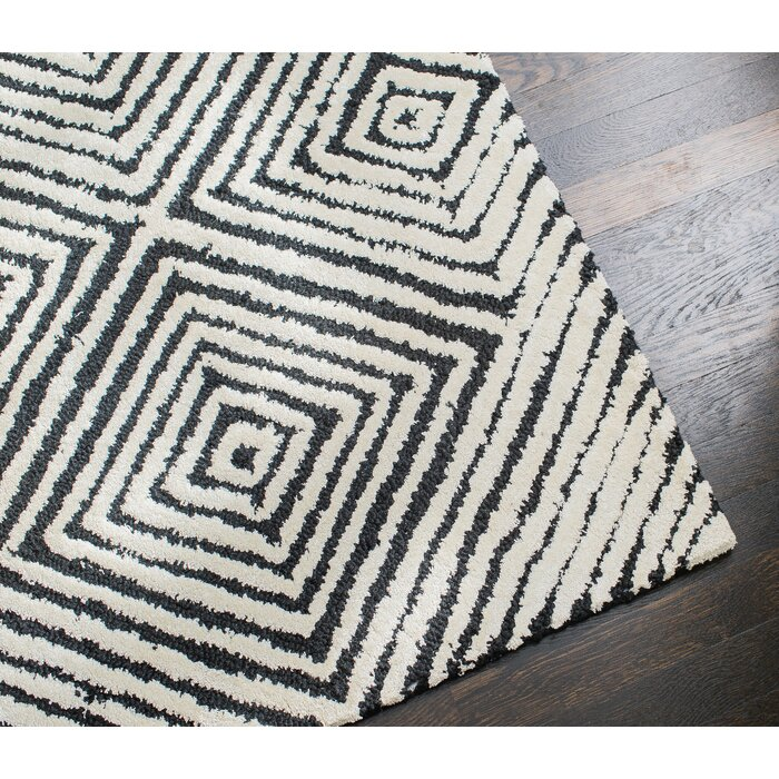 Hand Tufted Black White Area Rug