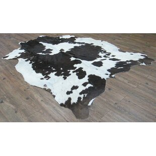 Bargain Whately Hand-Woven Cowhide Black/White Area Rug By Loon Peak