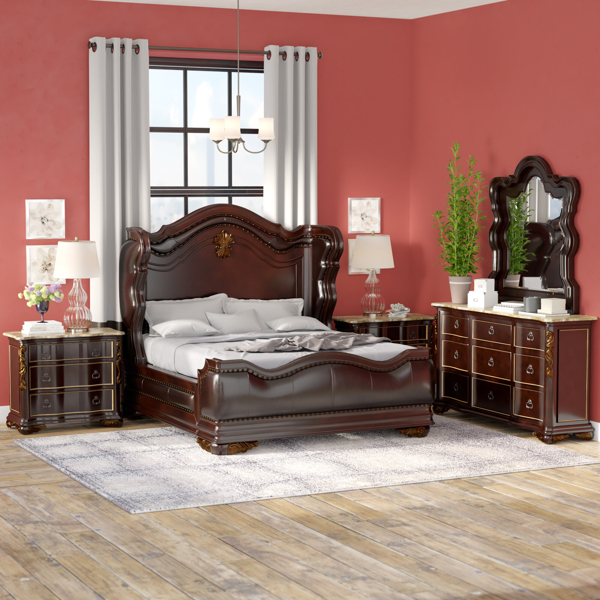 Astoria Grand Storrs Standard Solid Wood 4 Piece Bedroom Set