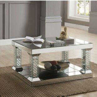 Knollview Modern Rectangular Glass and Faux Crystal Coffee Table