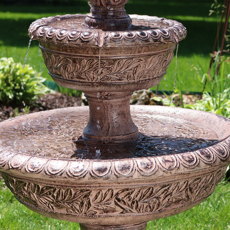 Fiberglass Solar Floral Tiered Water Fountain With Light