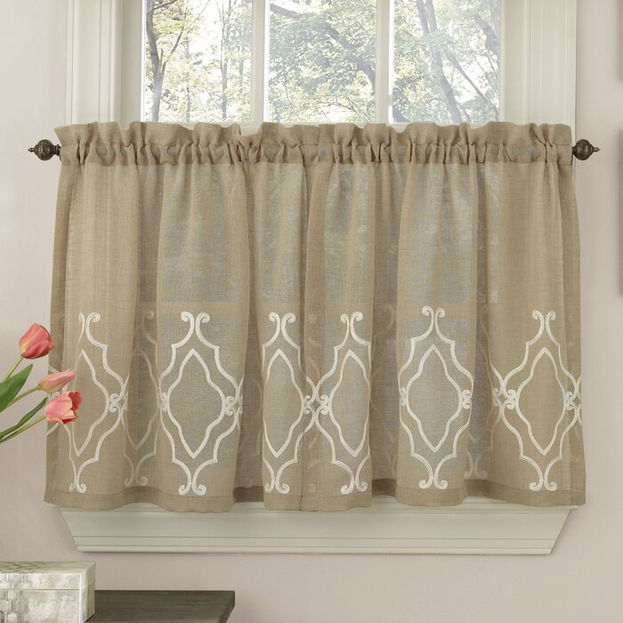 Carlyle Stitched Quatrafoil Kitchen Tier Curtains