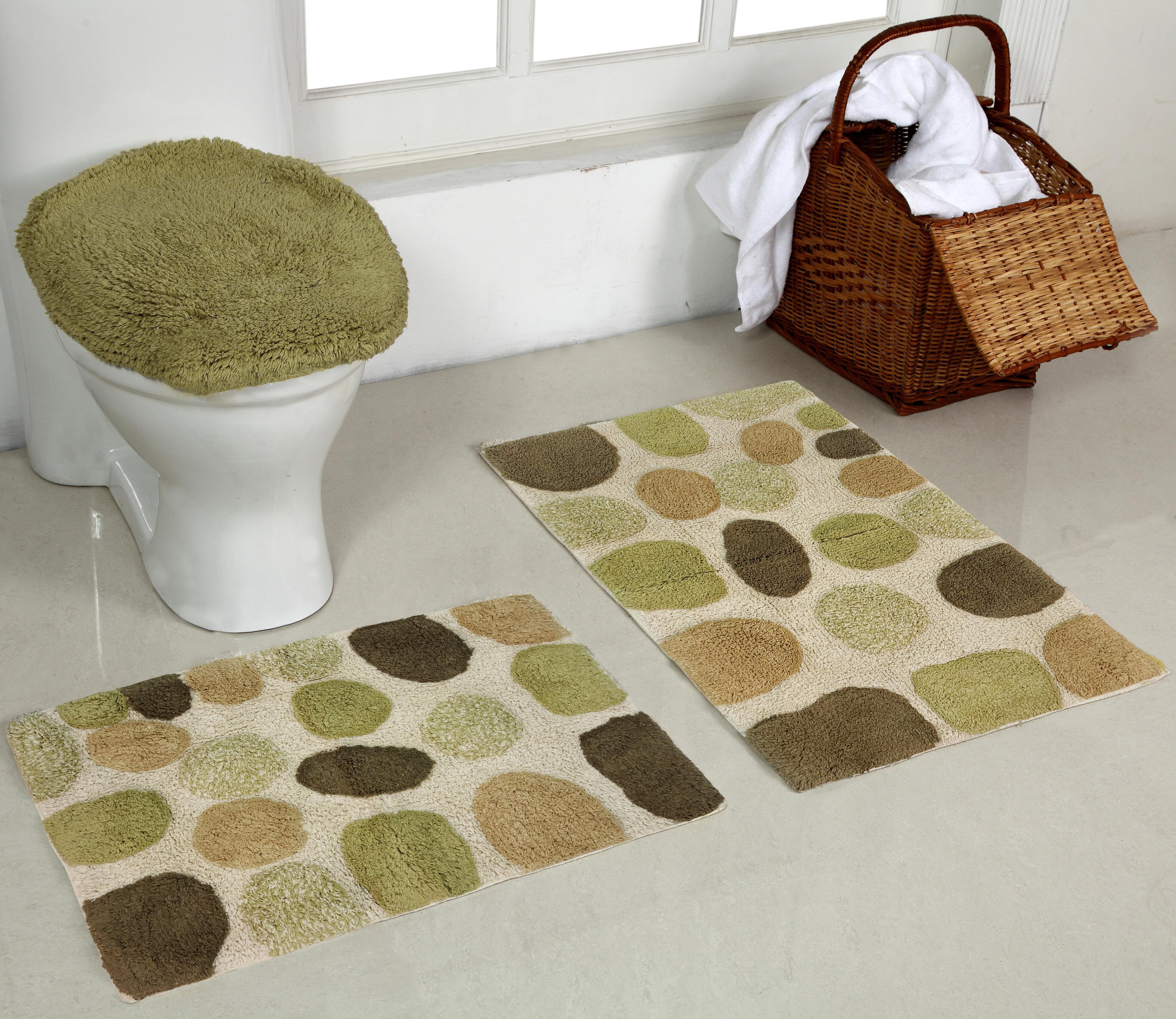 Better Trends River Rocks Rectangle 100 Cotton Reversible 3 Piece Bath Rug Set Reviews Wayfair