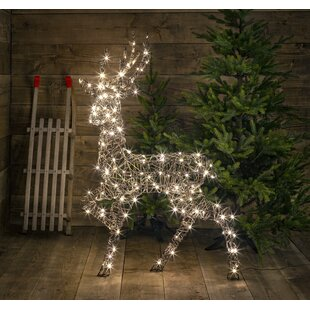 Standing Wicker Stag Lighted Display Image
