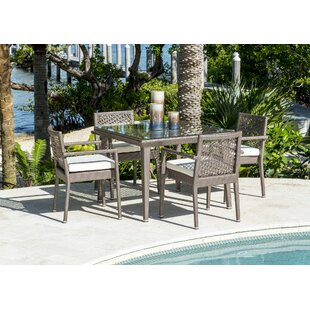 Good Quality Maldives 5 Piece Dining Set With Sunbrella Cushions Set Of 5 By Panama Jack Outdoor For Sale
