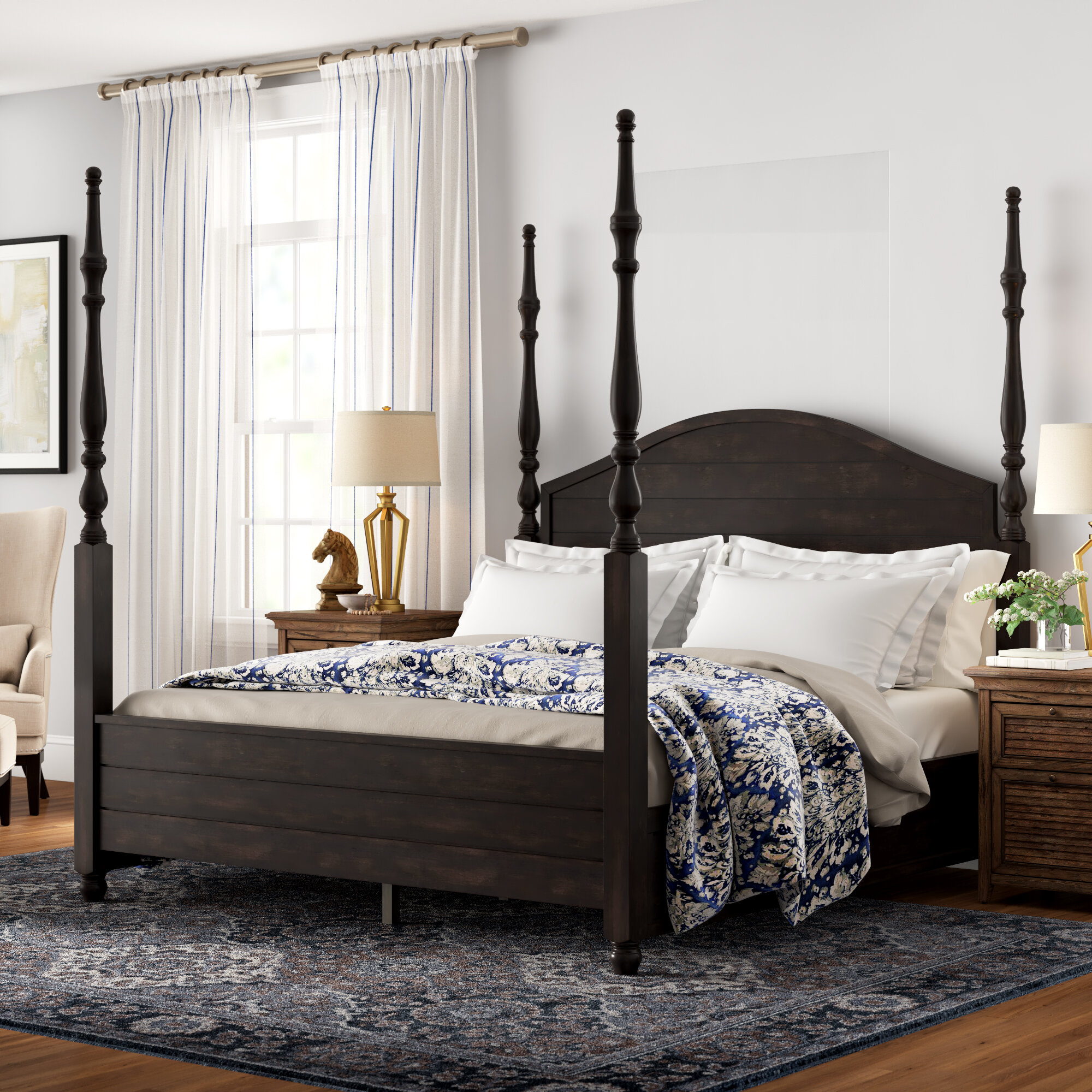 Picture of: Three Posts Woodside Four Poster Bed Reviews Wayfair