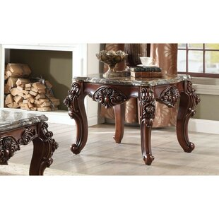 SunPrairie Scalloped Marble Top Carved Floral Motifs End Table