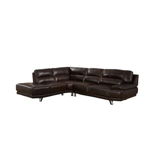 Price Check Hawkesbury Leather Sectional by Orren Ellis Reviews (2019) & Buyer's Guide