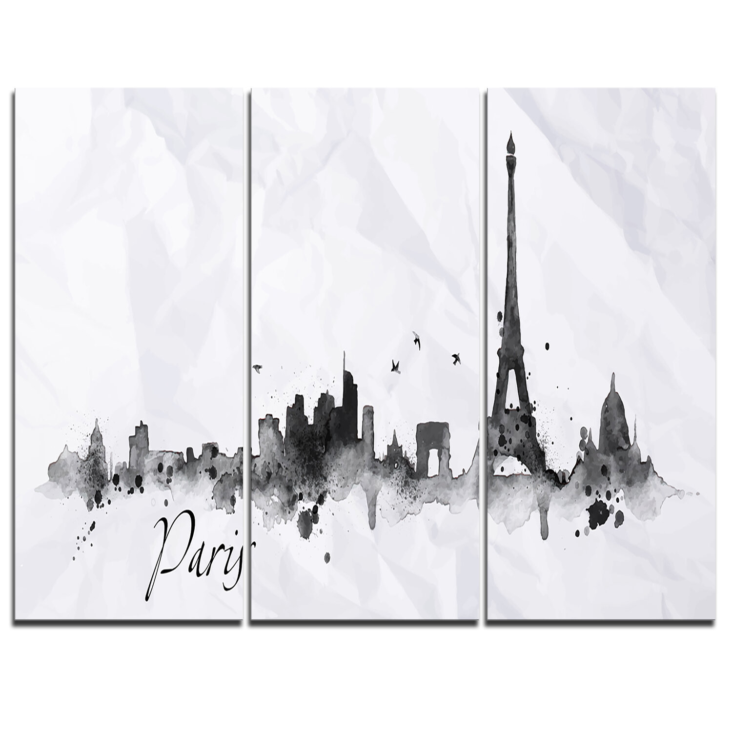 Designart Paris With Eiffel Silhouette 3 Piece Graphic Art On Wrapped Canvas Set Wayfair