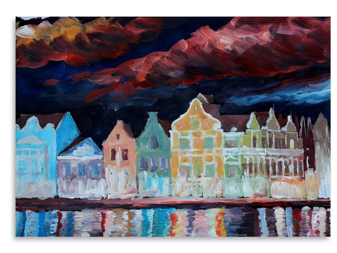 East Urban Home Willemstad Curacao At Night Painting Wayfair