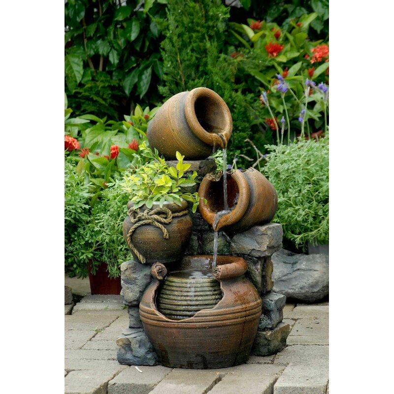 August Grove Bricher Resin Fiberglass Multi Pots Fountain Reviews Wayfair
