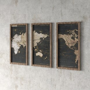 'World Map in Gold and Grey' Graphic Art Print Multi-Piece Image