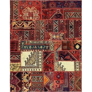 Sela Vintage Persian Hand Woven Wool Rectangle Red Tribal Patchwork Area Rug
