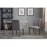 Jaclynn Tufted Upholstered Metal Side Chair in Gray (Set of 2) by Gracie Oaks