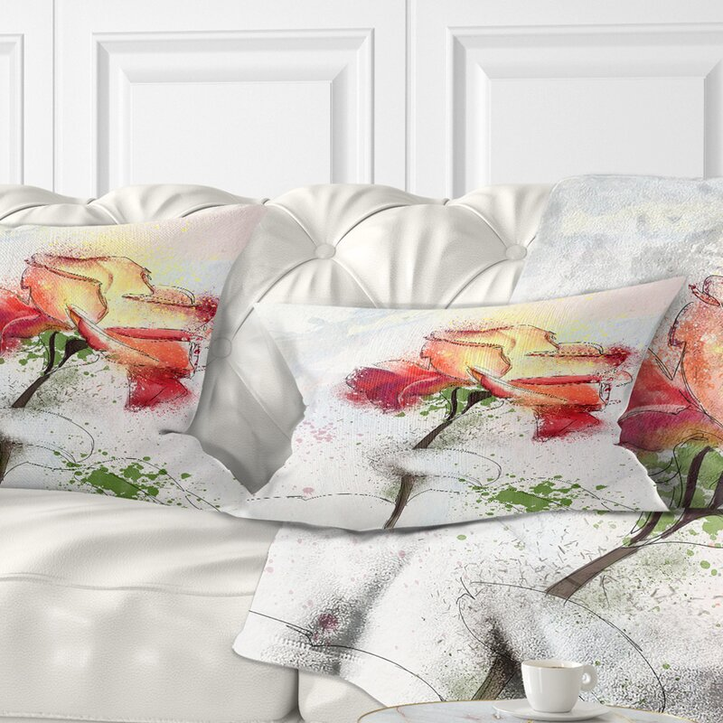 East Urban Home Floral Beautiful Rose Illustration Drawing Lumbar Pillow Wayfair