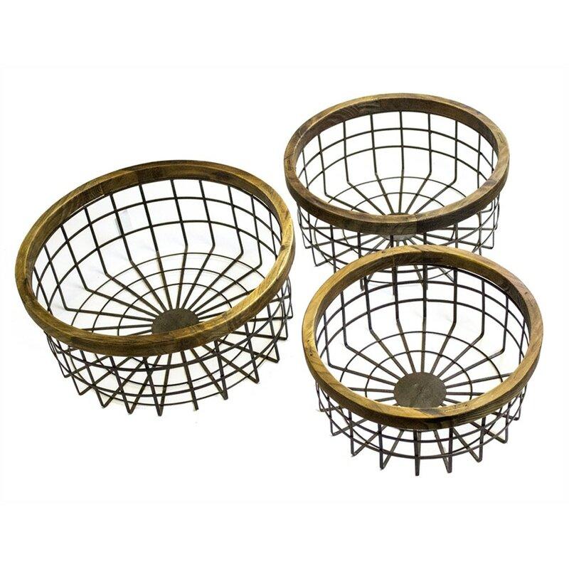 17 Stories Fine-Looking Round 3 Piece Metal/Wire Basket Set