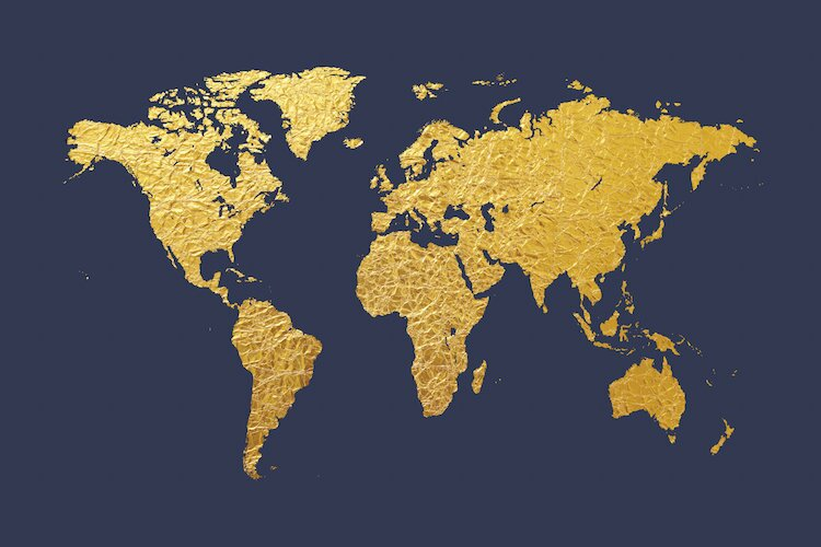 East urban home world map series gold foil on denim graphic art on world map series gold foil on denim graphic art on wrapped canvas gumiabroncs Choice Image