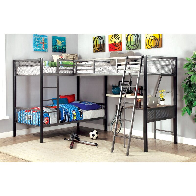 Earline Contemporary Twin Over Twin L Shaped Bunk Loft Bed With Storage And Display Shelf