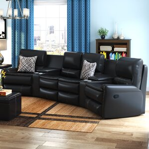 Yonkers Leather Reclining Sectional by Latitude Run