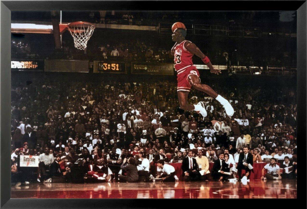 566e9b687964f5 Buy Art For Less  Michael Jordan - Foul Line Dunk Sports - NBA Chicago  Bulls Superstar Legend  Framed Photographic Print   Reviews