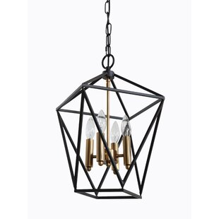 Orrin Metal 4-Light Geometric Chandelier by Wrought Studio