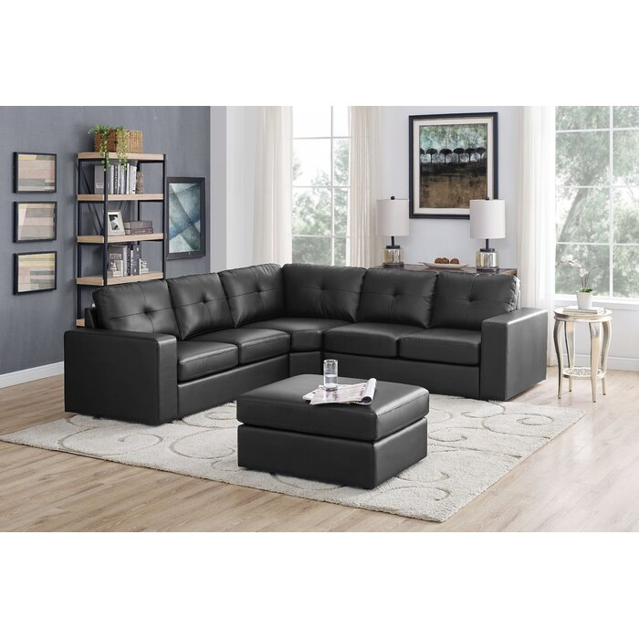 Auton 4 Seater Modular Sectional Sofa With Ottoman, Black