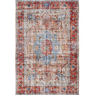 Salvaggio Handwoven Flatweave Red/Blue/Ivory Area Rug by Bungalow Rose