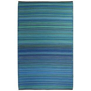 Marianne Turquoise/Moss Green Stripe Indoor/Outdoor Area Rug