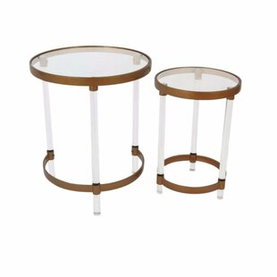 Mclawhorn Metal Acrylic 2 Piece Nesting Tables